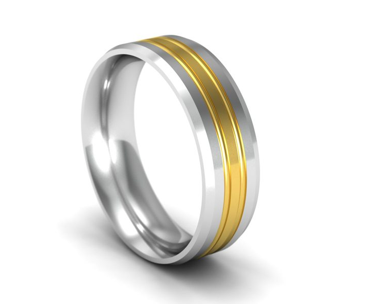 6mm Flat Court Wedding Ring Bi Colour Twin Grooved 18ct Gold